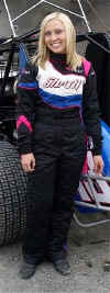 Danielle Huson races in her Lady Eagle Safetywear custom nomex and fr driver uniform